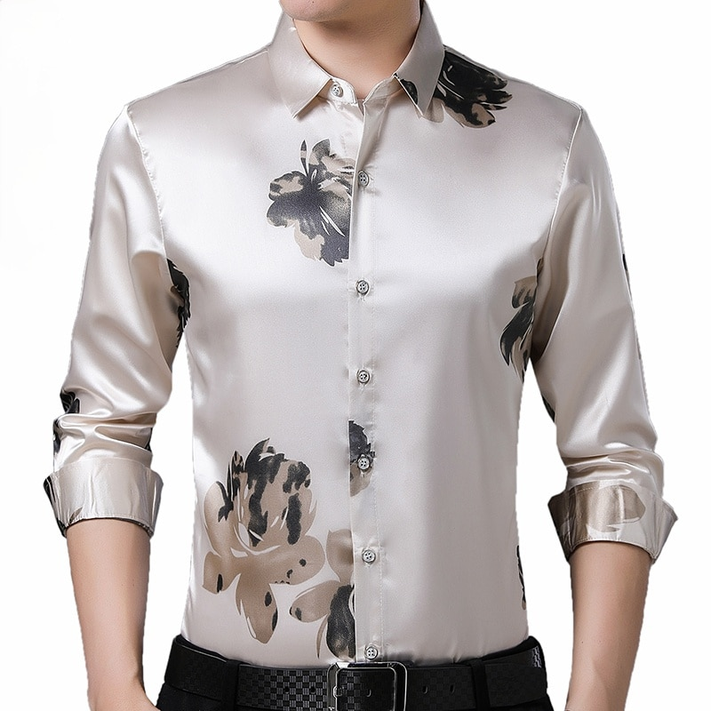 2021 Brand Long Sleeve Men Social Shirt Spring Streetwear Casual Floral Shirts Dress Mens Slim Regular Fit Clothes Fashions