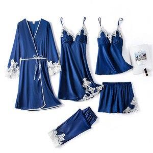 FZSLCYIYI Spring Summer Sexy Embroidery Lace Trim 5/4Pcs Women Satin Nightwear V-Neck Pajamas Suit Sleepwear Silky Homewear