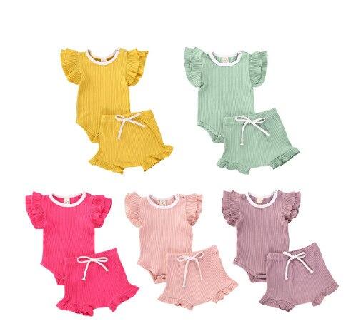 2020 5 farben 0-18M Infant Baby Mädchen Knited Kleidung 2 stücke Sommer Rüschen Kurzarm Romper Tops + hohe Taille Shorts Outfits Set