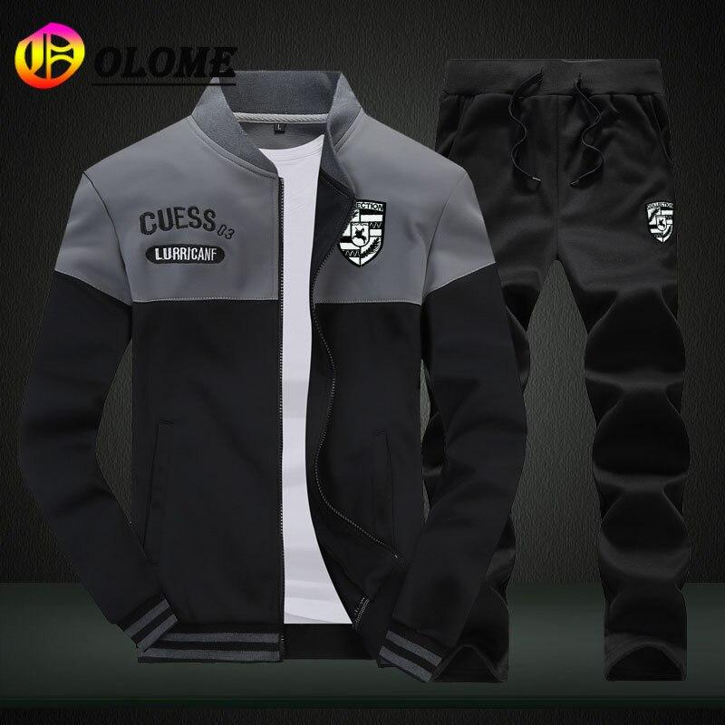 Sweat Suits for Men Joggers Set Fashion Casual Sport Suit Zipper Coat+Pant Tracksuit Autumn Winter C