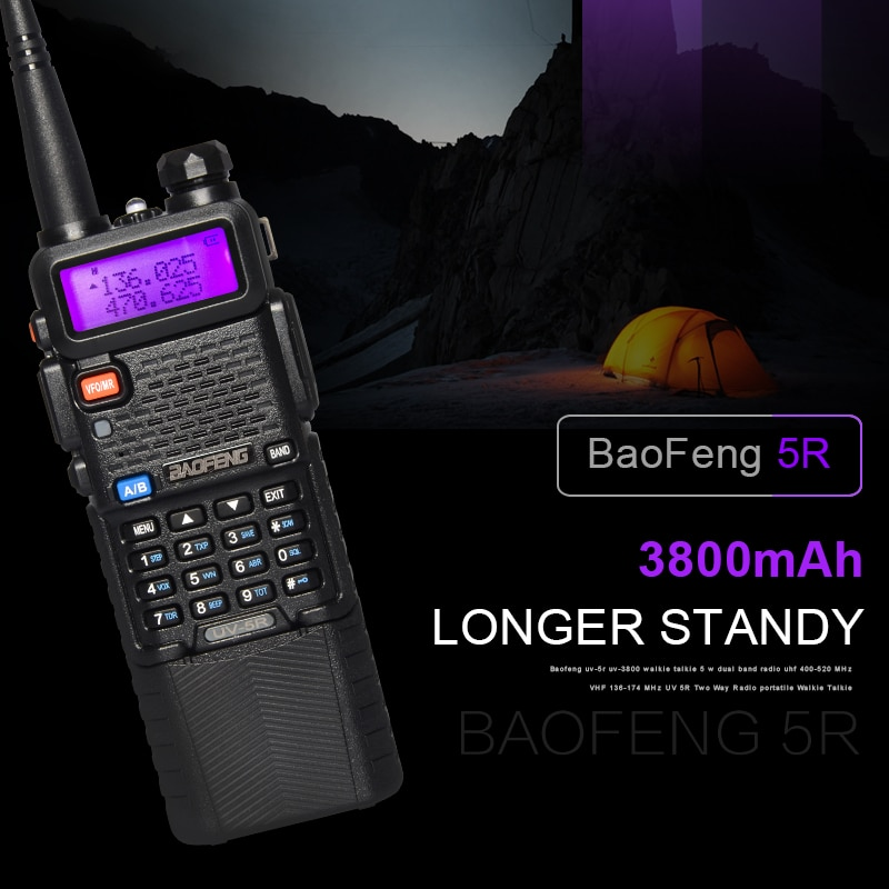 Baofeng UV-5R 5W Walkie Talkie Professional CB Radio Baofeng UV 5R 3800mAh Battery VHF UHF Portable Prosciutto Radio