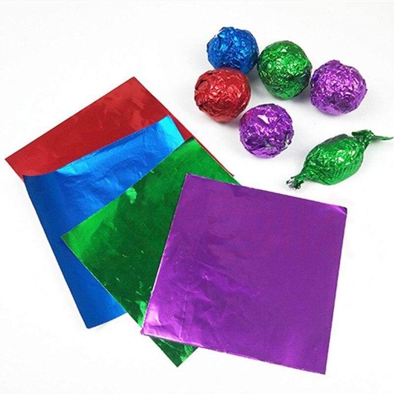 Квадратные конфетные упаковки, конфетные упаковки из фольги, шоколада, украшения для рождественской вечеринки, фестиваля, 100 шт./компл.