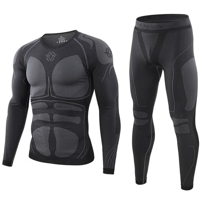 ESDY Otoño Invierno conjunto de ropa interior térmica para hombres secado rápido traje elástico antimicrobiano térmico para senderismo Camping ropa masculina VA720