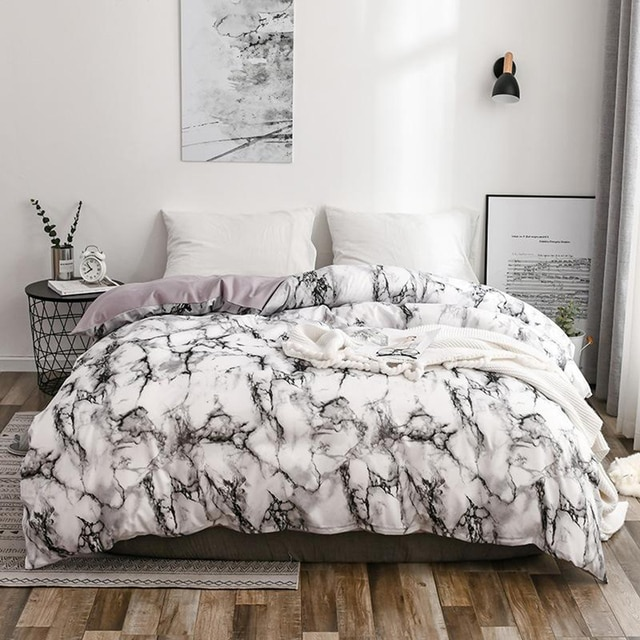The Bedroom Bedding Is A Comfortable White Marble Pattern Printed Duvet Cover (2/3 Piece Set), Single And Double Super Large 10