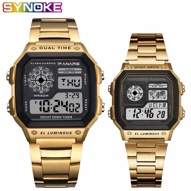 SYNOKE reloj de oro Retro de lujo para hombre y mujer de acero inoxidable con banda Digital de 5 Bar, reloj de pulsera impermeable para amantes de la natación