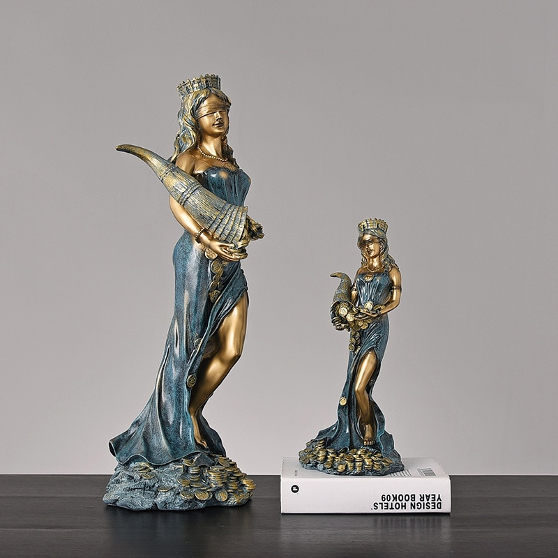 Статуэтка богини греческой богатства большого размера из смолы, статуэтка богатства форчуна, скульптура на удачу, офисный подарок, домашний декор MJ