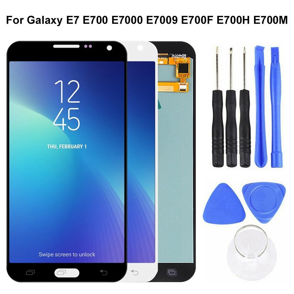 Digitador Da Tela de toque para Samsung Galaxy E7 E700 E7000 E7009 E700F E700H Frente Outer LCD Touch Screen Digitador Substituição Kit