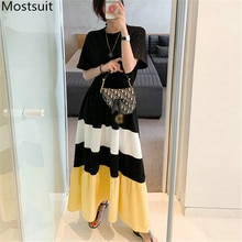 2020 Summer Color-blocked Korean Long Maxi Dress Women Short Sleeve O-neck A-line Pleated Dresses Casual Fashion Holiday Vestido