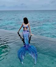 HOT!Kids Women HD Printing Mermaid Tail with Flipper Mermaid Bikini Swimsuit Costume Swimsuit Beach Wear Swim dress for Holiday