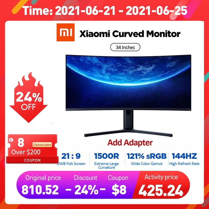 Изогнутый игровой монитор XIAOMI 34 дюйма 3440*1440 WQHD 21:9 экран 144 Гц Высокая частота обновления 121% sRGB 1500R кривизна-0