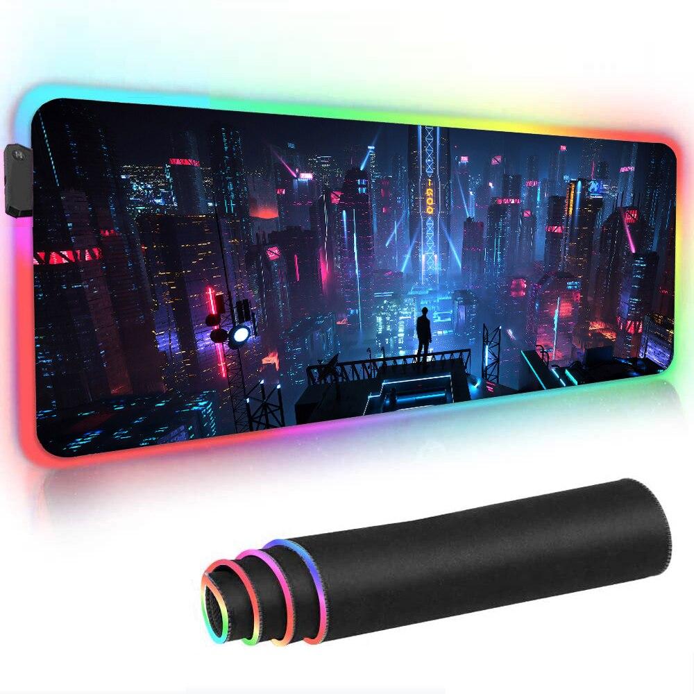 LED مدينة للرؤية الليلية RGB ماوس الوسادة الأسود النيون أضواء ألعاب اكسسوارات لوحة ماوس كبيرة مكتب اللعب حصيرة مع الخلفية الألعاب الإعداد