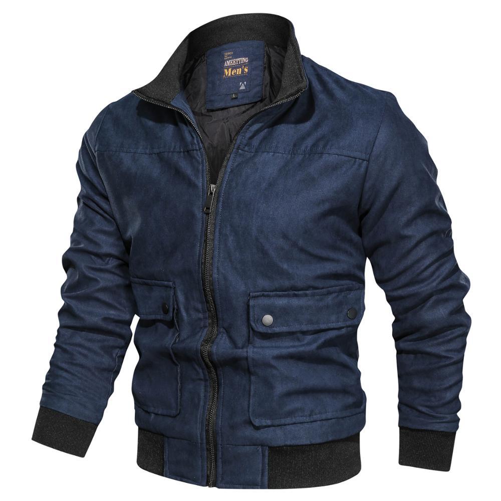 2020 Hot Sale Men Thermal Casual Bomber Fashion Winter Coat Multi-Pocket Fake Suede Jacket