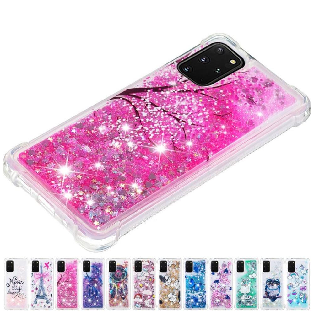 Nette Glitter Dame Quicksand Telefon Fall Für Samsung Galaxy A01 A21 A51 A71 J3Pro J5Pro Funkelt Anti-herbst Flüssigkeit zurück Abdeckung D03E