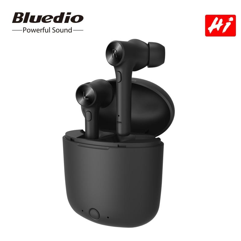 Auriculares inalámbricos bluetooth 5,0 Bluedio, Auriculares deportivos con sonido de alta fidelidad, pausa para reproducción automática, con micrófono incorporado en la caja de carga