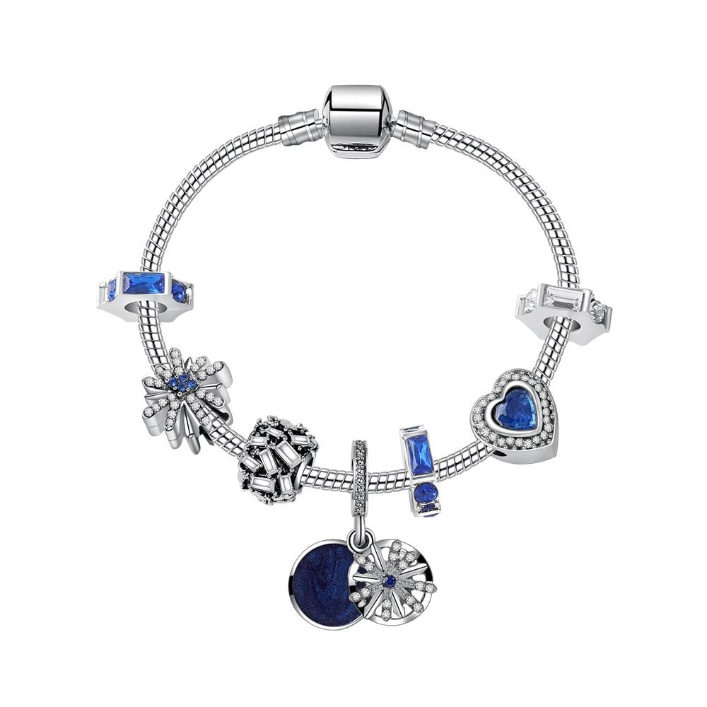 Original Pandoras 925 Sterling Silber Blau Sky Liebe anhänger Braclets Kristall stern opale Schlange kette armband Charms perlen geschenke