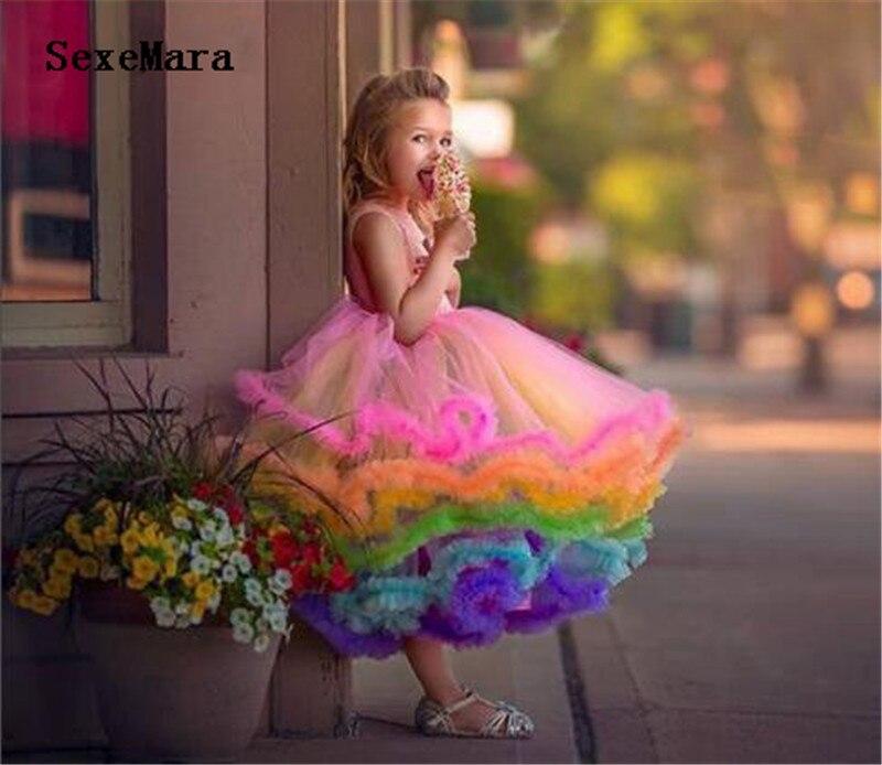 Bonito arco íris queque vestido da menina flor da criança glitz pageant vestido ruffles infantil outfits 1st aniversário dos miúdos do partido do baile de finalistas