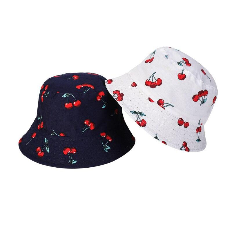 Хлопковая Панама в стиле унисекс, стильная двухсторонняя воздухопроницаемая модная Солнцезащитная шапка от солнца с принтом фруктов и виш...