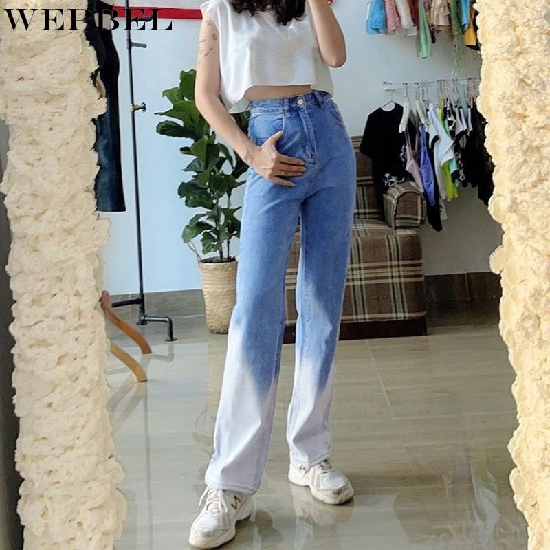 WEPBEL Jeans Women's Casual Pocket Gradient Color Loose Jeans Summer Fashion Button High Waist Denim Straight-Leg Pants