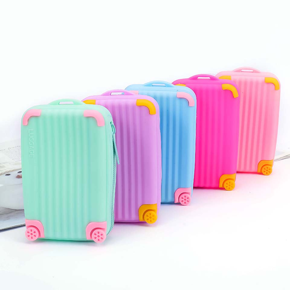 Силиконовый большой вместительный кошелек для монет Детский чемодан сумка для карт Водонепроницаемая маленькая свежая мягкая сумка для хранения на молнии