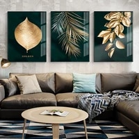 nordic botanical canvas poster oil painting golden leaf plants print wall art decorative pictures for living room home decor