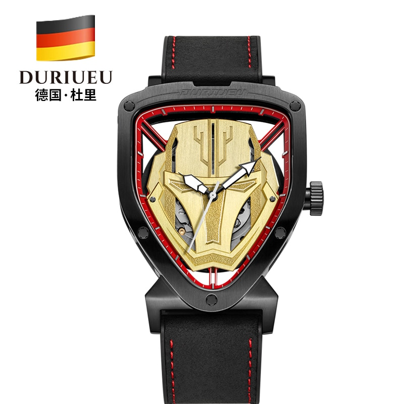 DURIUEU-ساعة ميكانيكية أوتوماتيكية للرجال ، سوار معصم فاخر ، مقاوم للماء ، ذهبي ، رياضي