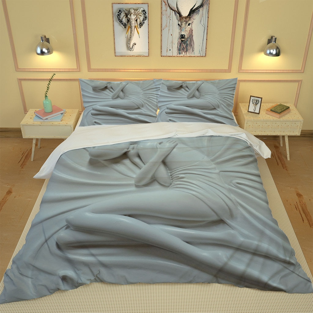 Custom white beauty bedding set Duvet Cover Set Single Double Queen King Bed Linen with Pillowcase Quilt Covers