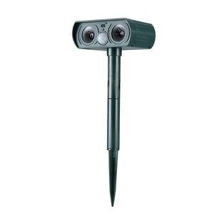 Ultrasonic Outdoor Solar Animal Deterrent with Motion Sensor Flashing LED Light Waterproof Animal Scarer Repellent (Green)