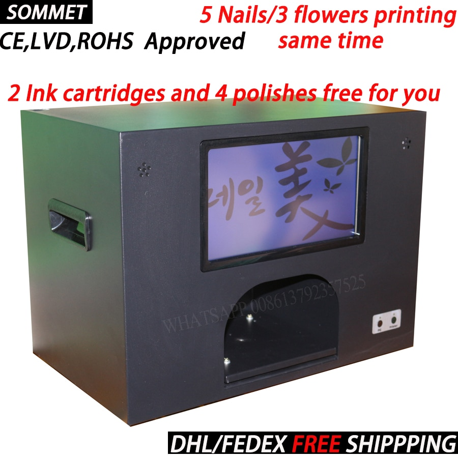 3 years warranty nail art machine computer inside digital nail and flower printer nail machine 5 nails printing same time