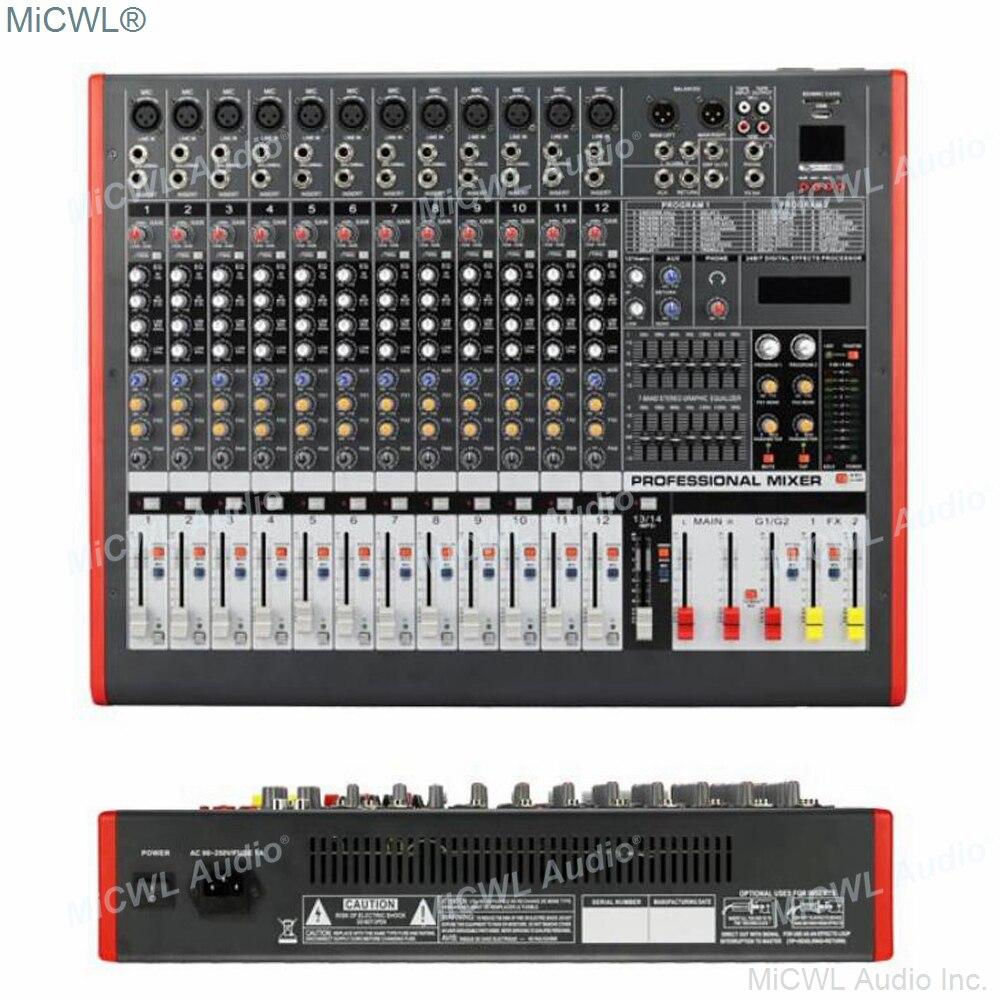 MiCWL 12 قناة المهنية جهاز مزج الصوت مجموعتين خلاط وحدة التحكم DJ ستوديو المزدوج المجموعة 7 العلامة التجارية EQ وتأثير USB 48 فولت