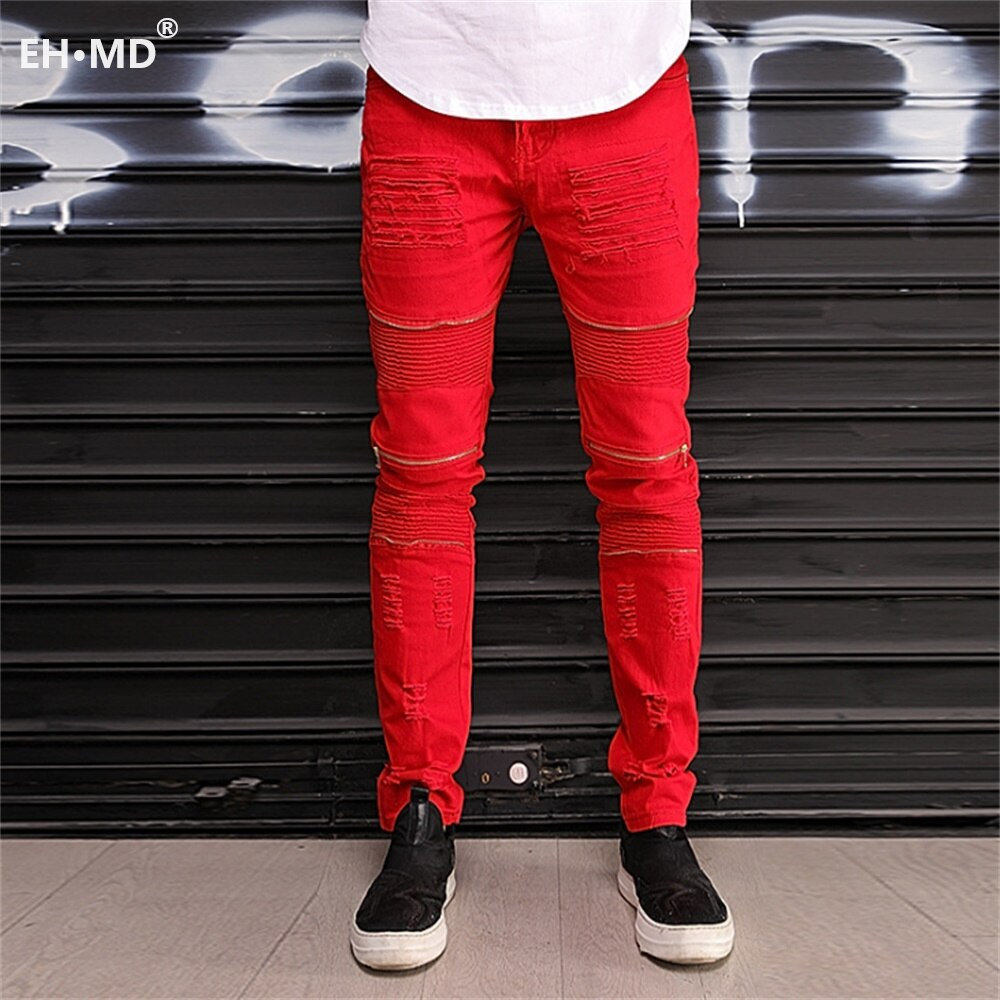 EH · MD® Men's Scratched Denim Trousers Fashion Trend Cut Through Zipper Decoration Multi Pocket 2020 Red Slim Casual Jeans Tide