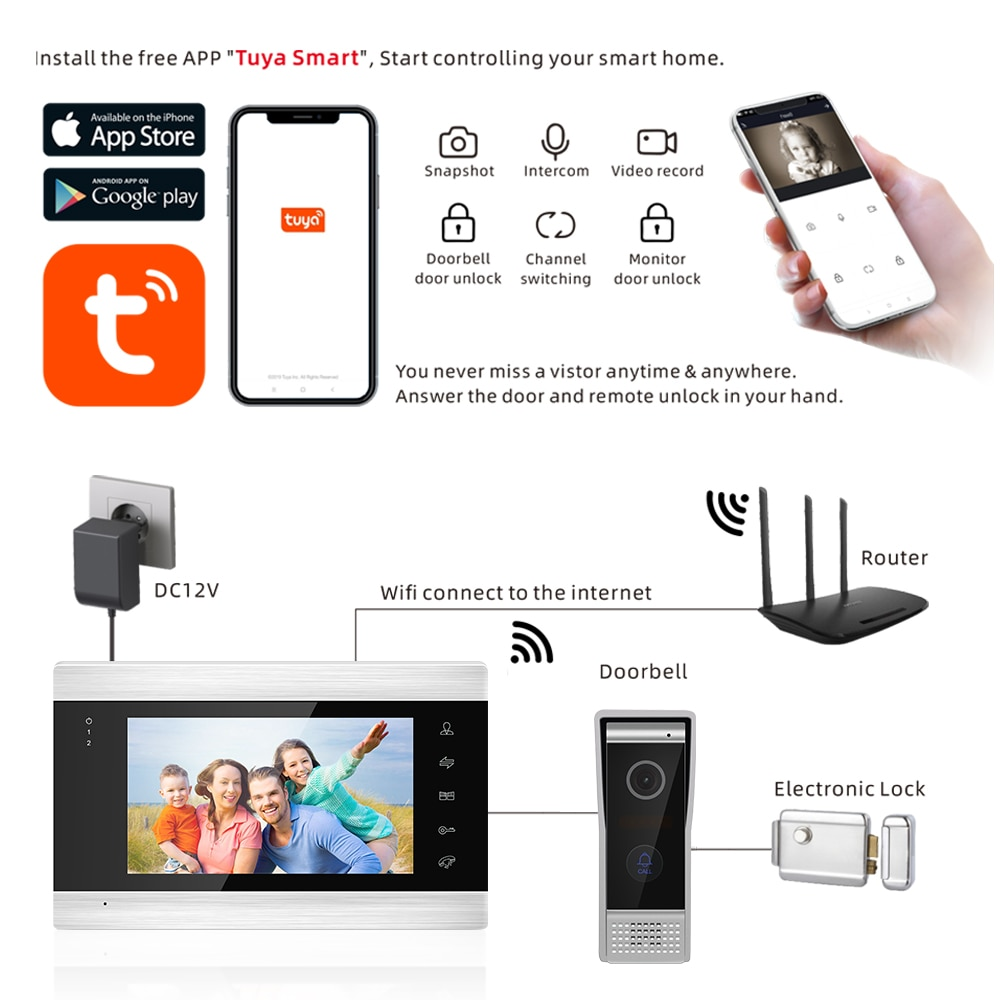 7inch Monitor Video Intercoms Home Security System Video Doorbell Door phone cam, Multi-language, support remote control enlarge
