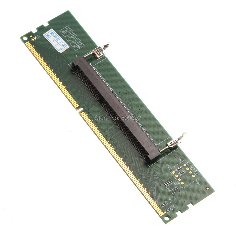 DDR3 portátil SO-DIMM a escritorio DIMM memoria RAM conector escritorio adaptador tarjeta memoria probador tarjeta adaptador para ordenador