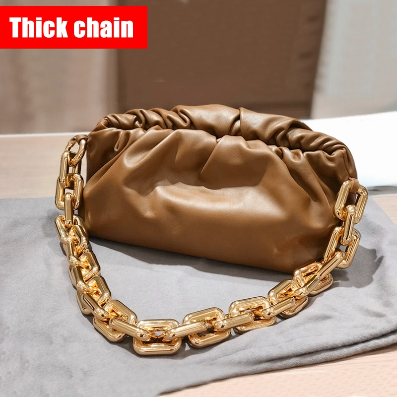 Thick Chain Cloud Bag Luxury Brand Shoulder Bag 2020 New Style Celebrity Star Leather Women's Fashion Handbag Soft Underarm Bag