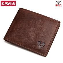 KAVIS portefeuilles en cuir hommes marque porte-cartes en cuir avec porte-monnaie mâle pour fermeture éclair Walet Portomonee Rfid portefeuille petit Mini