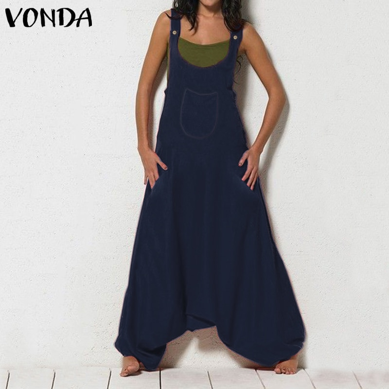 Mono sin mangas a la moda para mujer VONDA mono de una pieza pantalones de pierna ancha para mujer monos talla grande Pantalon mujer S-5XL
