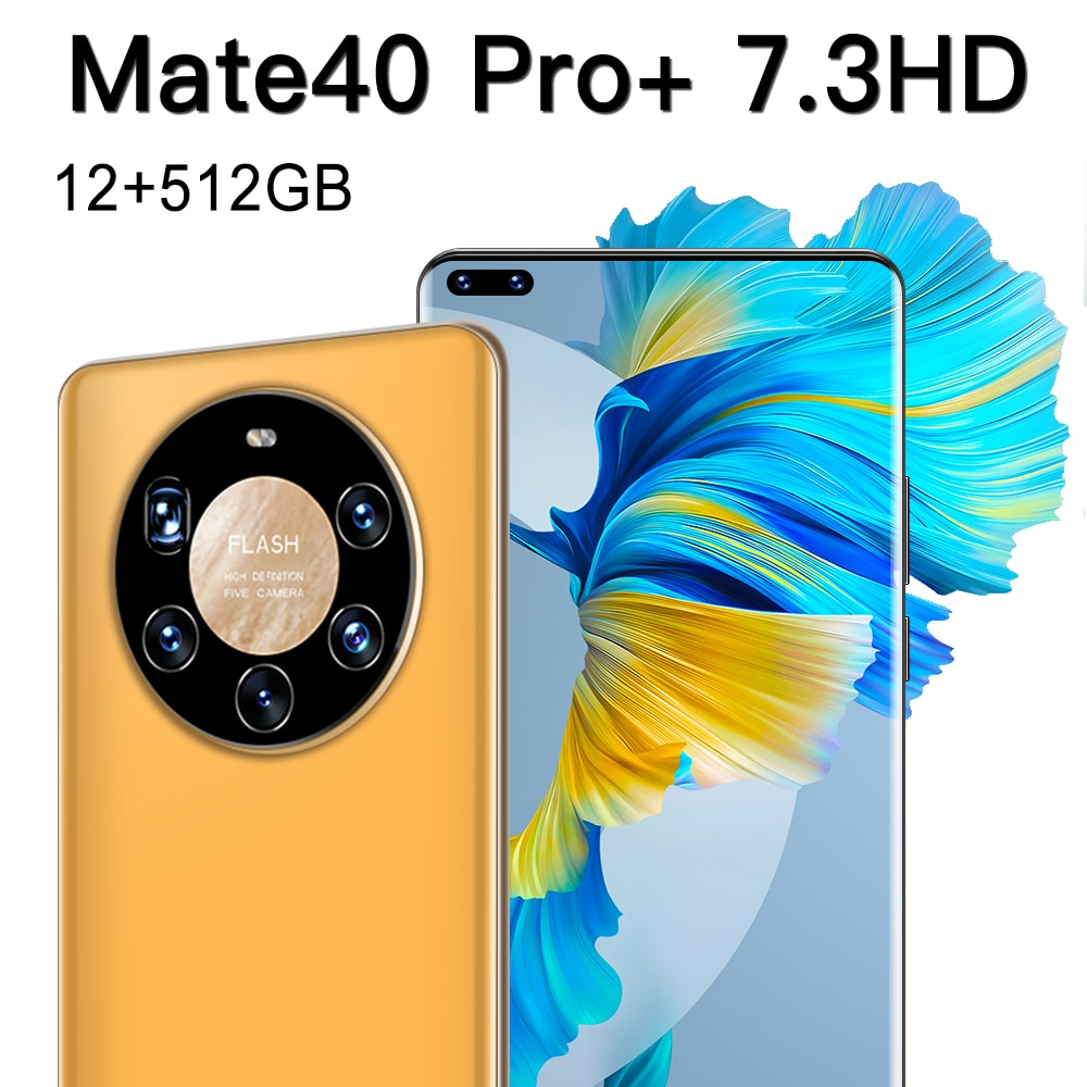 Global Version Ultra Thin Mate40 Pro+ Smartphone 6000mAh Full Screen 7.3 Inch Deca Core 16GB 512GB 4G LTE 5G Network Smartphones