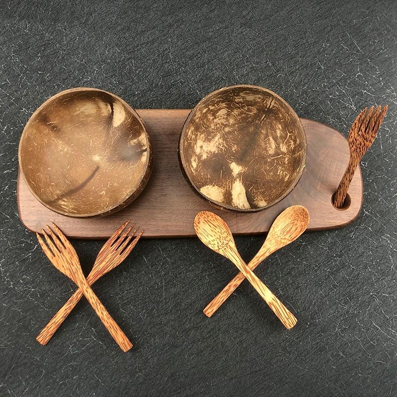 Natural Coconut Bowl Spoon Kitchen Wooden Cutlery Set Natural Wood Fine Handmade Noodle Bowl Rice Bowl Sara Bowl Salad Bowl