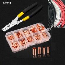 210PCS GT Kupfer anschluss rohr draht gemeinsame kleine kupfer rohr Terminal Kabel Lug durchmesser 1,5-8mm mit wärme schrumpfen rohr zange