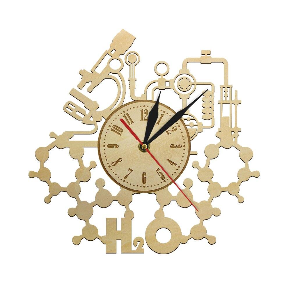 Reloj de pared de madera con diseño químico H2O, reloj de pared decorativo para profesores