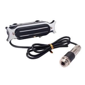 Практичное металлическое акустическое гитарное устройство с двумя звуковыми отверстиями и разъемом 6,35 мм