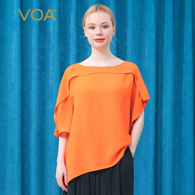 VOA 30m/m Heavy Mulberry Silk Collar Bat Sleeve Asymmetric Design Orange Hem Split Loose T-shirt for Women BE578 Woman Tshirts