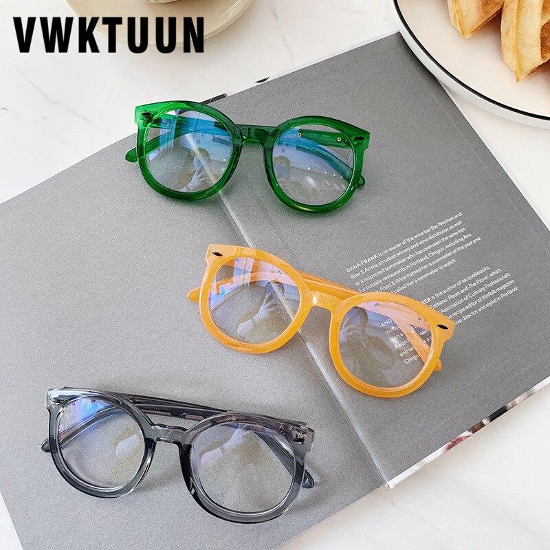 Vwktuun óculos quadro redondo computador óculos seta rebite óculos de olho quadros para homens feminino candy color óculos ópticos quadro
