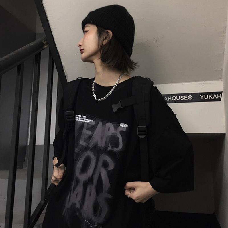 INS Dark Letter Print Short-Sleeve T-shirt Women's Summer 2021 New Loose round Neck Mid-Length Top F