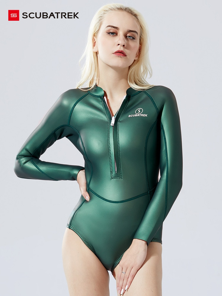 2MM Full Body Scuba Neoprene Wetsuits Women One Piece Snorkeling Surfing Hunting Swimming Long Sleeve Keep Warm Diving Suits