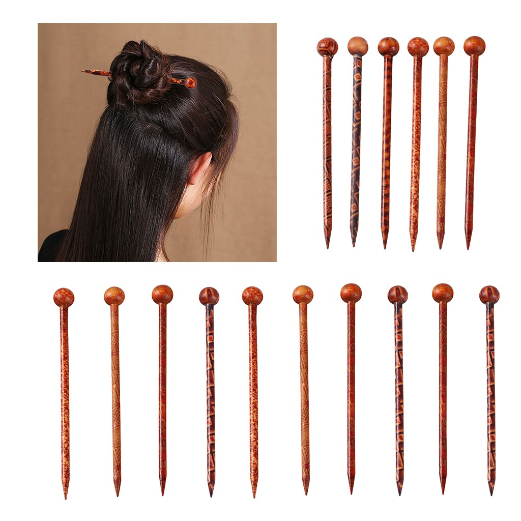 16 peças de madeira hairpin hairwear madeira acessórios para o cabelo varas hairpins trança estilo jóias ferramenta