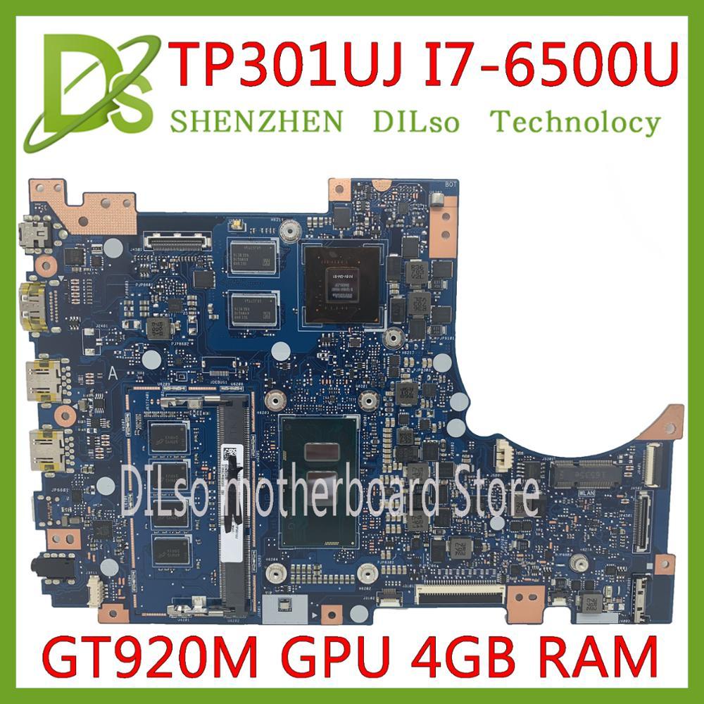 Placa base KEFU TP301UJ para ASUS TP301UA Q303UA placa base original 4GB-RAM I7-6500U GT920M-2GB placa base de trabajo probada 100%