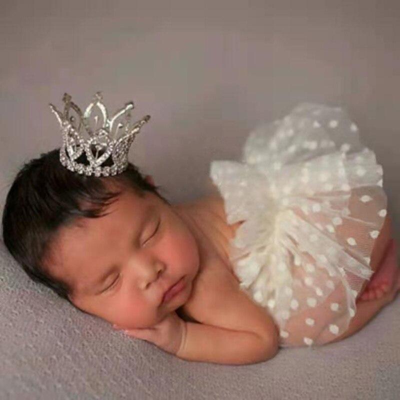 Реквизит для фотосъемки новорожденных одежда короткая юбка головной убор комплект Короны Детский фотокостюм для младенцев Одежда для фото...