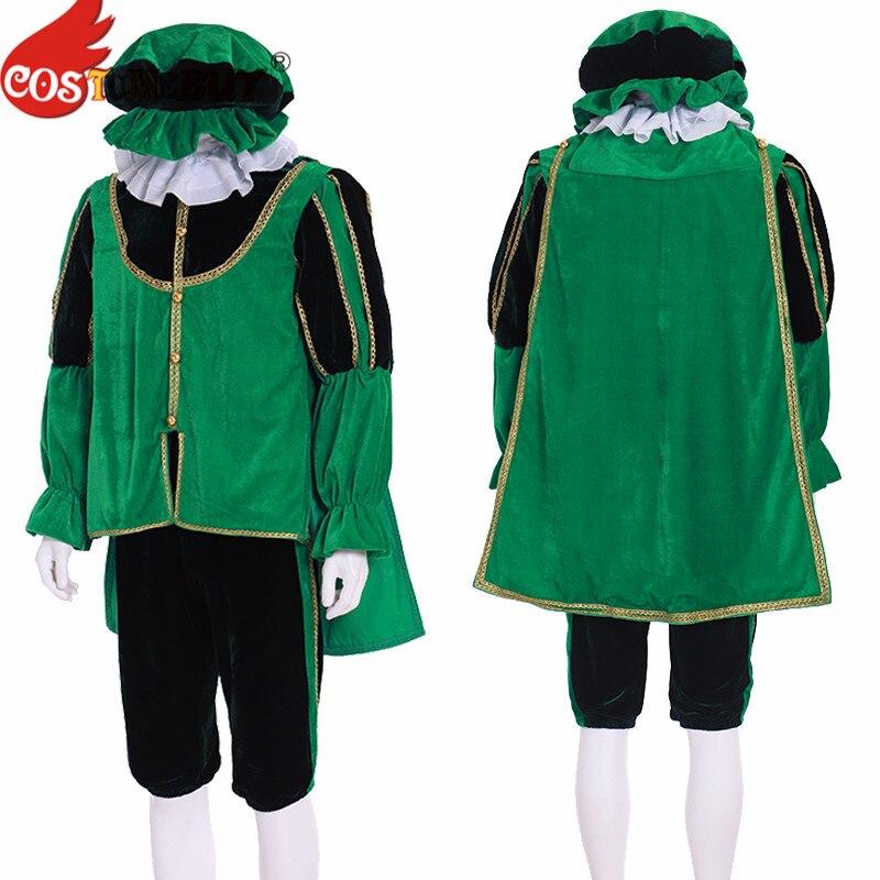 Disfraz de Príncipe victoriano para hombre, disfraz de Tudor, guardia militar Medieval renacentista, traje verde, hecho a medida