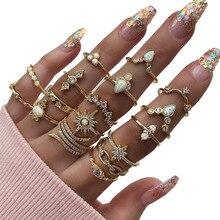 2020 nova moda feminina meninas anéis definir moda cristal reno pedra geométrica midi dedo anel conjuntos de jóias acessórios 17 pçs/set