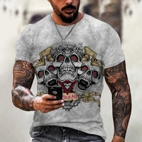 summer fashion men new skull head 3d printing mens clothes plus size comfortable round neck short sleeve male skull t shirt top